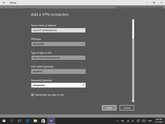 Entering the VPN connection details.