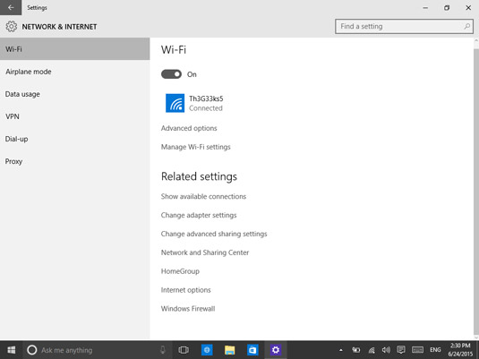 Accessing advanced sharing settings in Windows 10.