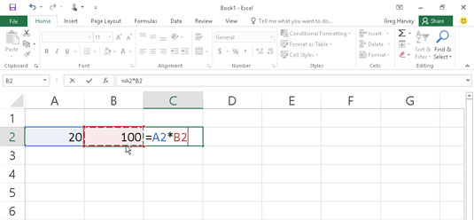 To complete the second part of the formula, type * and select cell B2.