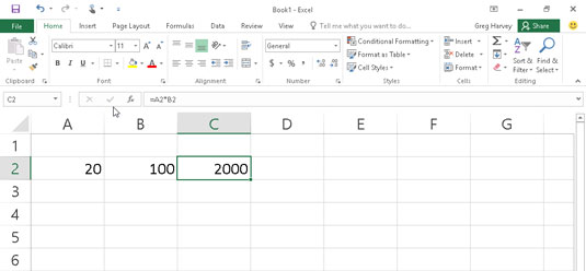 Click the Enter button, and Excel displays the answer in cell C2 while the formula appears in the F