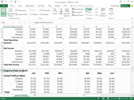 The Income Analysis spreadsheet in a split window after scrolling up the bottom rows in the lower p