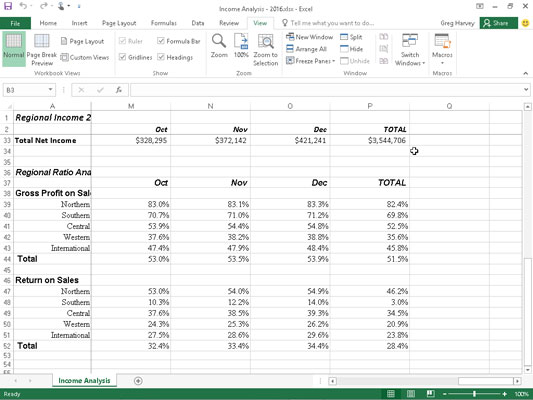 The Income Analysis worksheet after scrolling the columns left to display the last group of columns