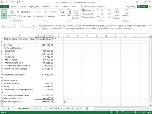 how to sum from different worksheets in excel 2016