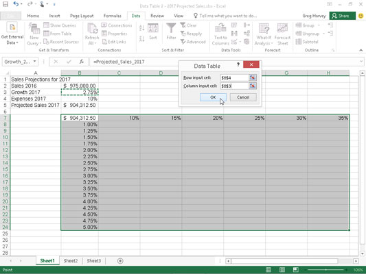 Sales projection spreadsheet with a series of possible growth and expense percentages to plug in to