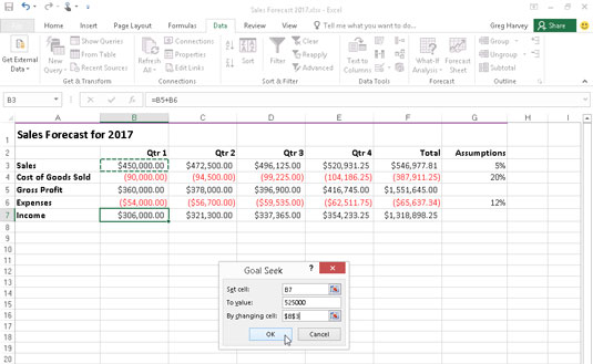Use goal seeking to find out how much sales must increase to reach a target income.