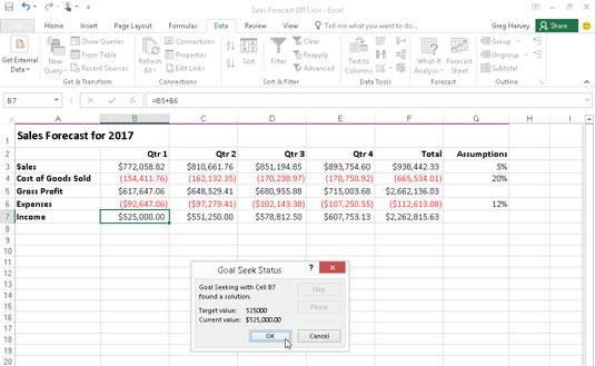 Forecast spreadsheet showing goal-seeking solution.