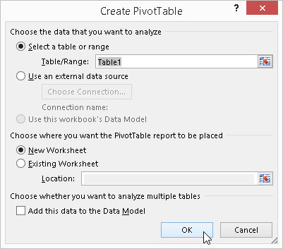 Indicate the data source and pivot table location in the Create PivotTable dialog box.