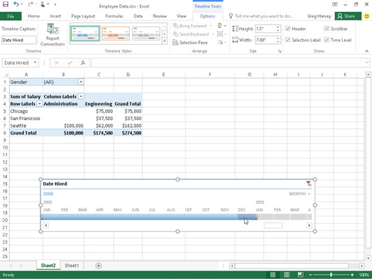 Sample pivot table filtered with a timeline created for the Date Hired field.