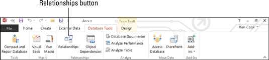 The Relationships button on the Database Tools tab.