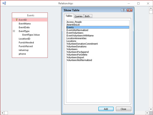 Use the Show Table dialog box to add tables to the Relationships diagram.