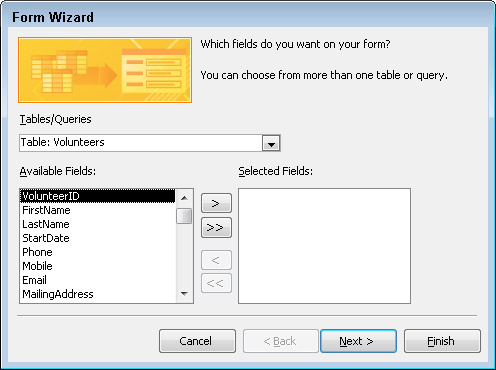 Select the data source and fields you want to see on the form.