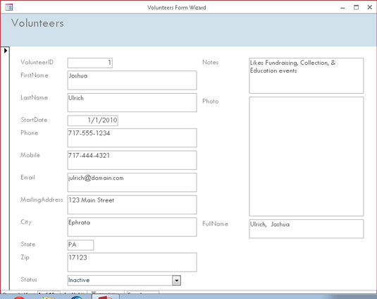 Lookin' good. A form created by the Form Wizard.