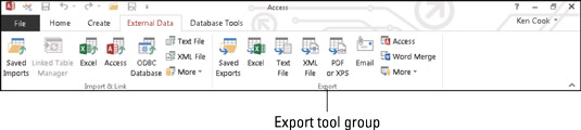The Export button group.