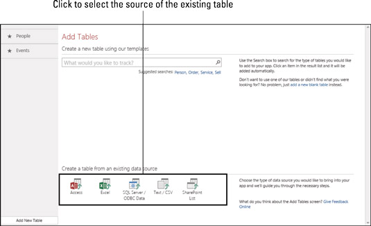 Select the source of the existing table.