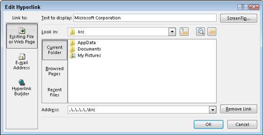 The Edit Hyperlink dialog box.