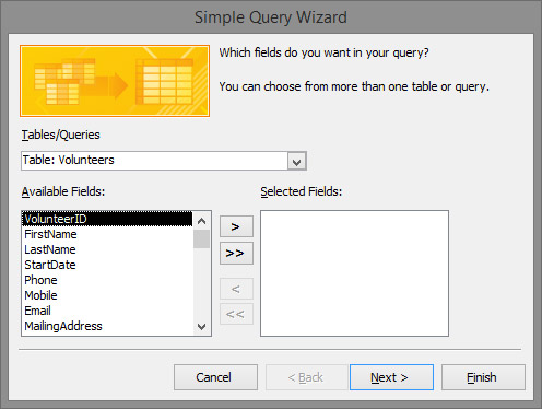 The Simple Query Wizard starts and asks which table(s) you want to query.