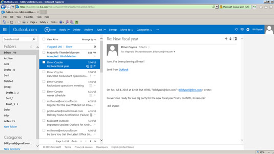 The Outlook.com screen offers toolbars and buttons to help you get around.
