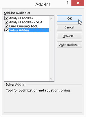 Activate built-in add-ins in the Add-Ins dialog box.