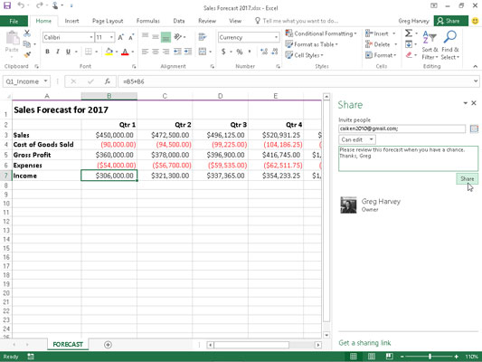 Inviting co-workers or clients to share an Excel workbook saved on your OneDrive in the Share task
