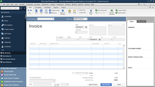 How To Prepare An Invoice In QuickBooks Dummies - What does a quickbooks invoice look like