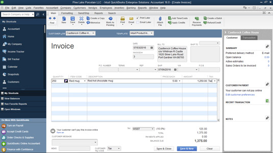 A completed Create Invoices window.