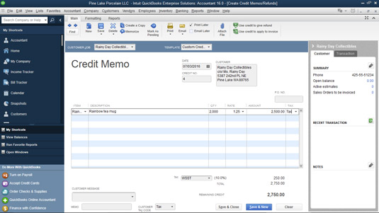 The Create Credit Memos/Refunds window.