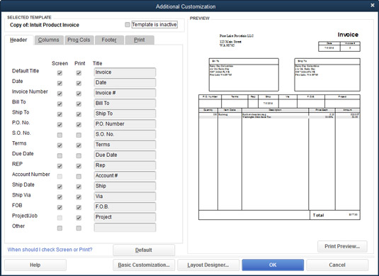 Use the Additional Customization dialog box to customize an invoice.