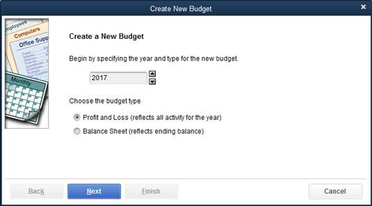 The Create New Budget window.
