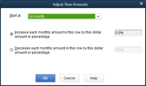 The Adjust Row Amounts dialog box.