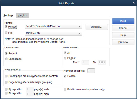 The Print Reports dialog box.