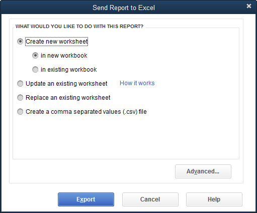 The Send Report to Excel dialog box.