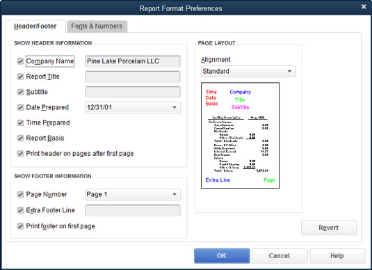 The Report Format Preferences dialog box.
