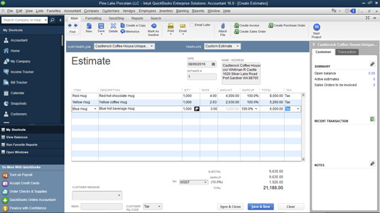 The Create Estimates window.