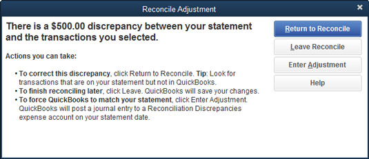 The Reconcile Adjustment dialog box.