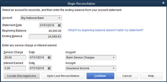 The Begin Reconciliation dialog box.