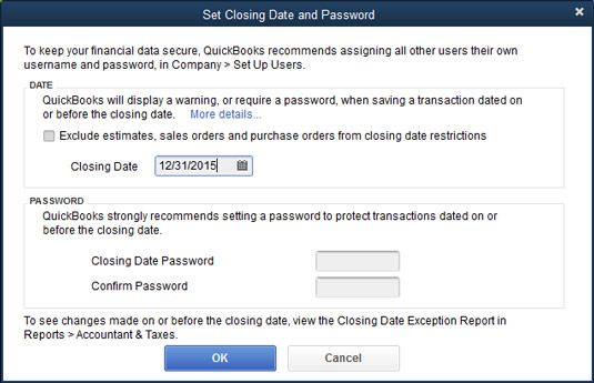 The Set Closing Date and Password dialog box.