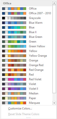The Colors drop-down list.