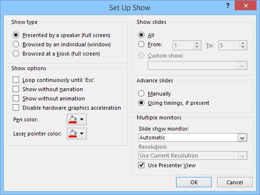 The Set Up Show dialog box.
