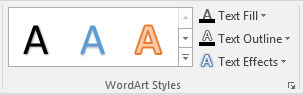 The WordArt Styles group on the Drawing Tools Format tab.