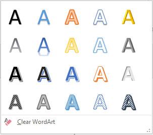 The WordArt Quick Styles gallery.