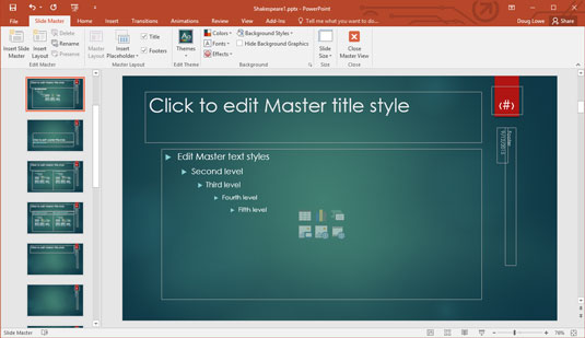 How to modify a slide master in powerpoint 2016 dummies slide master view toneelgroepblik Image collections