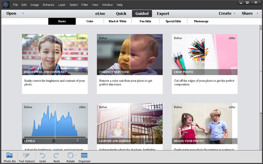 Click the Guided tab to open the Guided Photo Edit panel.