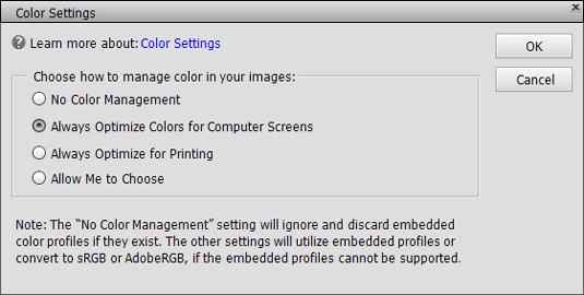 The Color Settings dialog box.