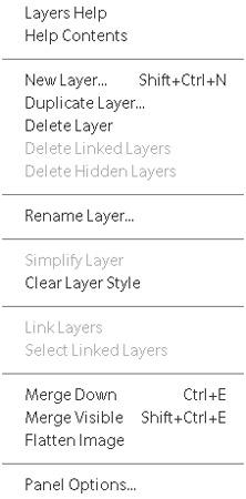 The Layers panel pop-up menu.