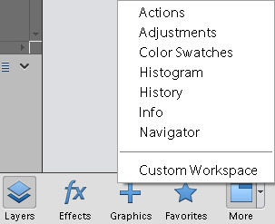 Click the down-pointing arrow to display a menu where you can open additional panels.