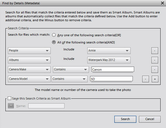 Choose Find --> By Details (Metadata) in the Organizer to open the dialog box in whi