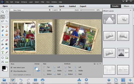 Advanced mode provides you with the Photo Editor tools to edit photos in your creation before savin