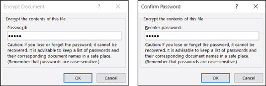 Enter passwords for the file in this dialog box.