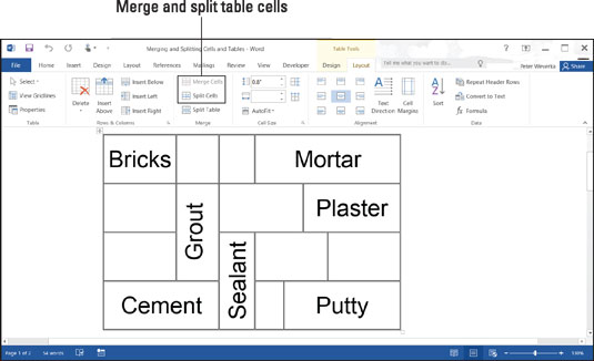 split table in word 2019