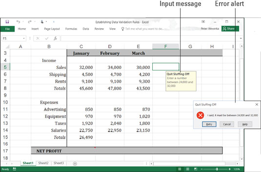 Validating data using excel